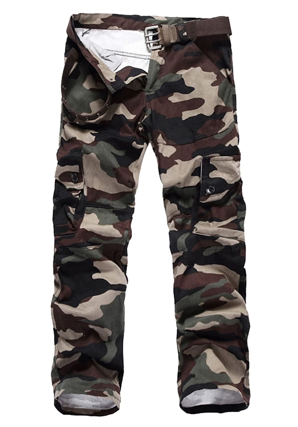 Mens Cotton Outdoor Woodland Camouflage Military Cargo Pants Combat Work Pants Aubig