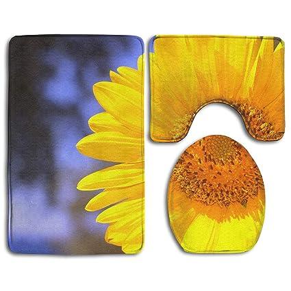 3 Pcs Non-Slip Sunflowers Bathroom Rug Set Bath Mat Contour Rug Toilet Lid Cover