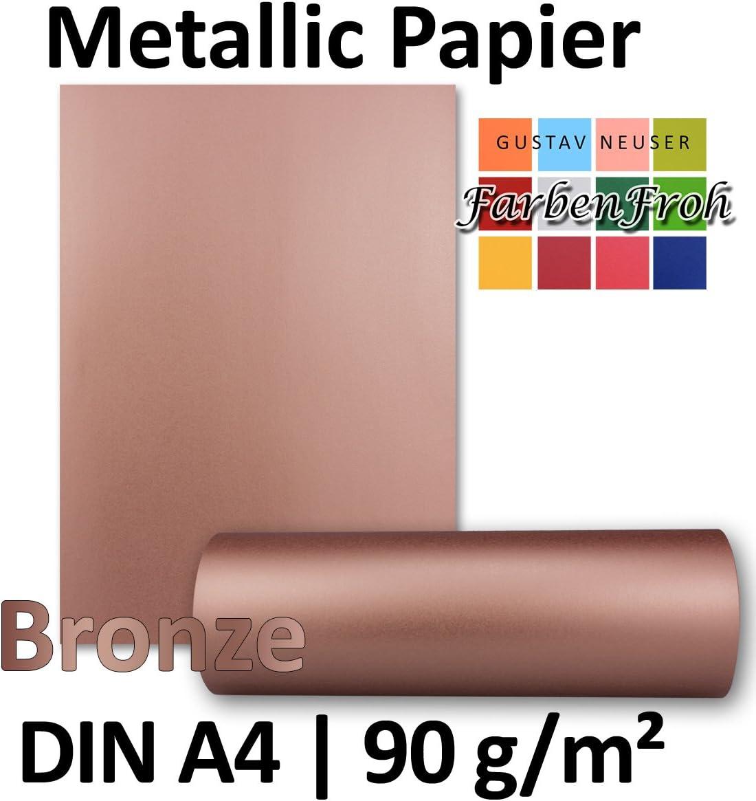R/ückseite Wei/ß F/ür Einladungen 100 St/ück Metallic Papier DIN A4 21,0 x 29,7 cm gl/änzendes Bastelpapier 90 g//m/² Hochzeiten Gold Metallic