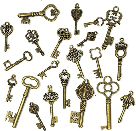 30 PCS Big Skeleton Key Charms Collection Mixed Antique Silver Steampunk Gear Wedding Heart Key Metal Pendants for Jewelry Making M103