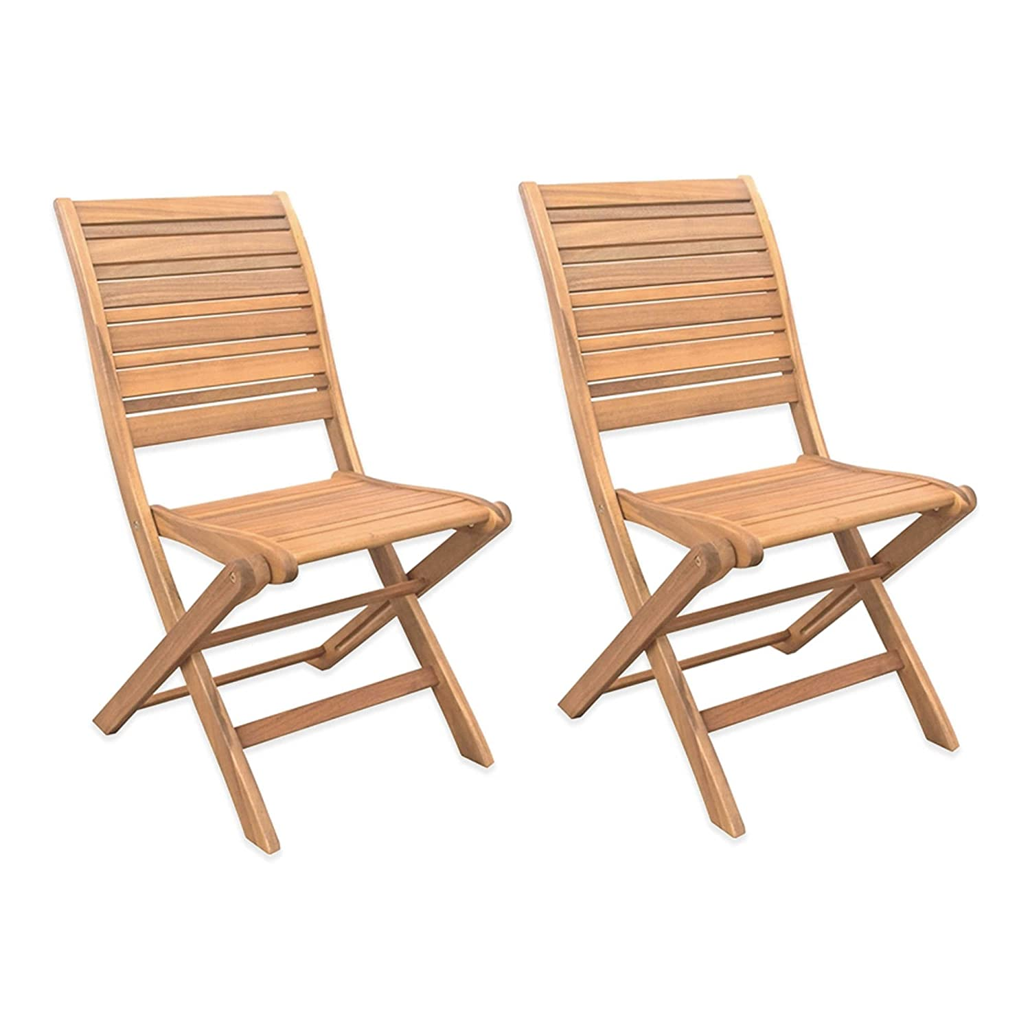 Amazon Beautiful Sturdy Acacia Wood Folding Chairs Set of 2