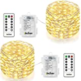 Homestarry HS-AMZ-VC-WW-01 Fairy Lights Battery 2 Pack Waterproof 8 Modes 66 Leds 16.4 ft Silver with Remote for Outdoor, Garden, Patio, Party, Chirstmas(Warm White)