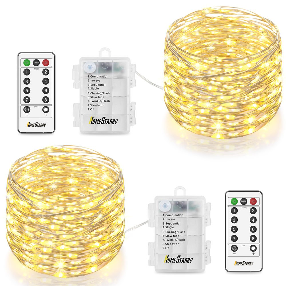 Homestarry HS-AMZ-VC-WW-01 Fairy Lights 2 Pack Operated Waterproof 8 Modes 66 LED 16.4 ft String Copper Wire Firefly Remote Control Decor Christmas Warm White
