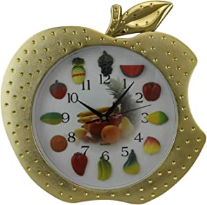 Dependable Apple Shape Quartz Wall Clock with Fruit Hour Numbers