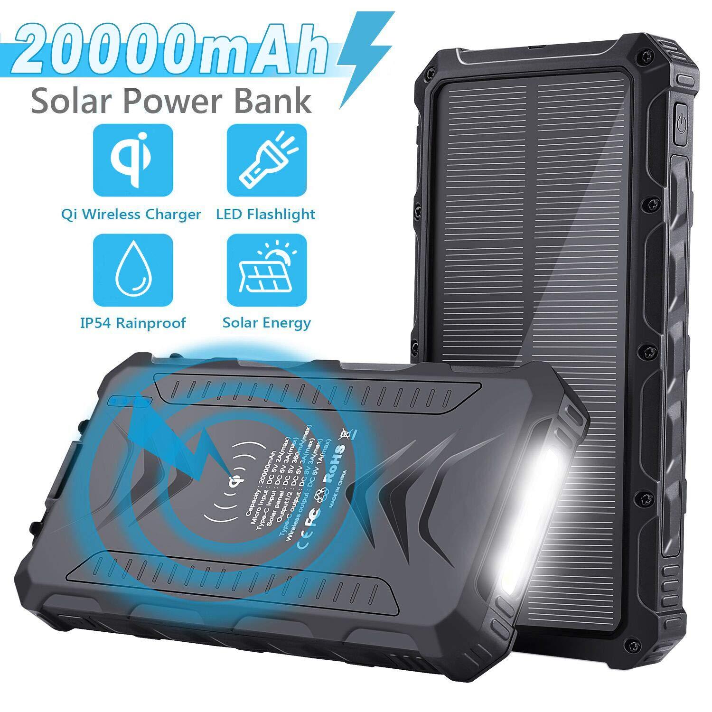 Sendowtek Batería Externa Solar 20000mAh, Batería Portátil Solar Power Bank con Cargador USB/USB C/Qi Wireles para Smartphone Tablet PC, Linterna SOS ...