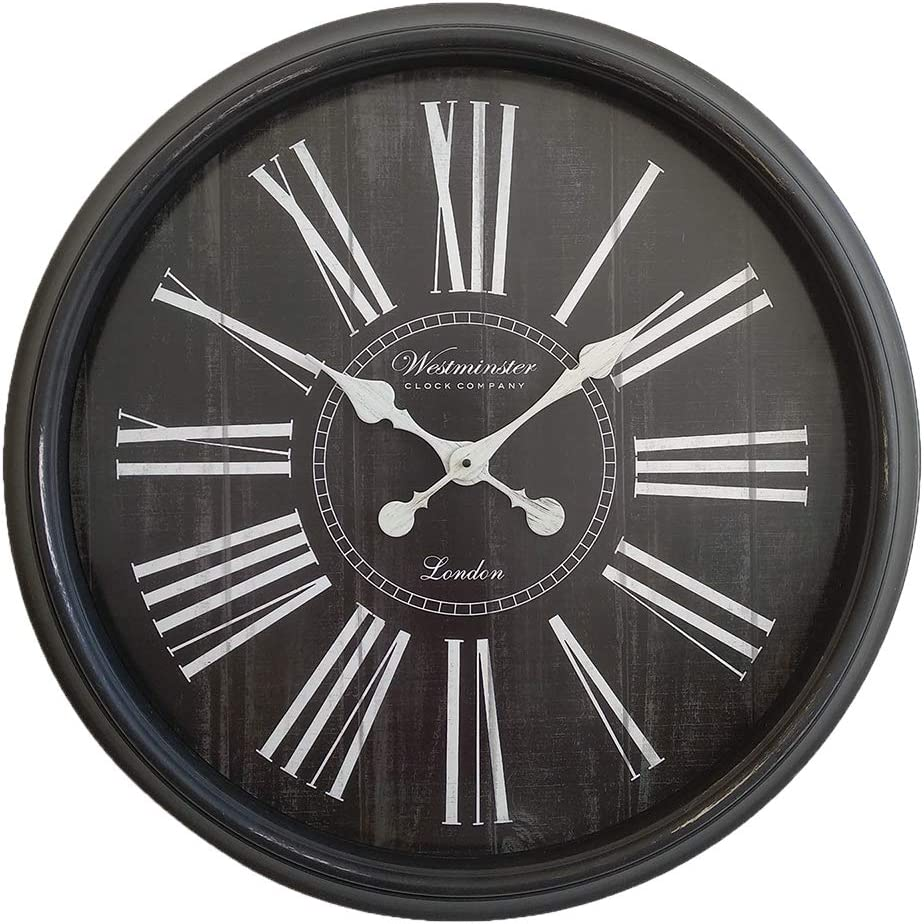 Decorative Extra Large Wall Clock Oversized 30 Inch Perfect Vintage Living Room Wall Decor Distressed Wood Finish Big Roman Numeral Analog Display Non Ticking And Battery Operated Black Kitchen Dining Amazon Com