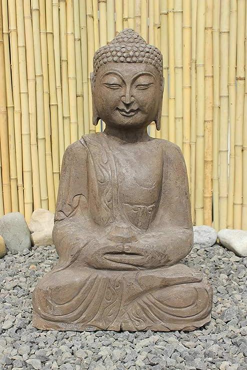 Asien lifestyle Asiática Jardín Buda Estatua de Piedra Natural 61cm Amitabha Figura: Amazon.es: Jardín