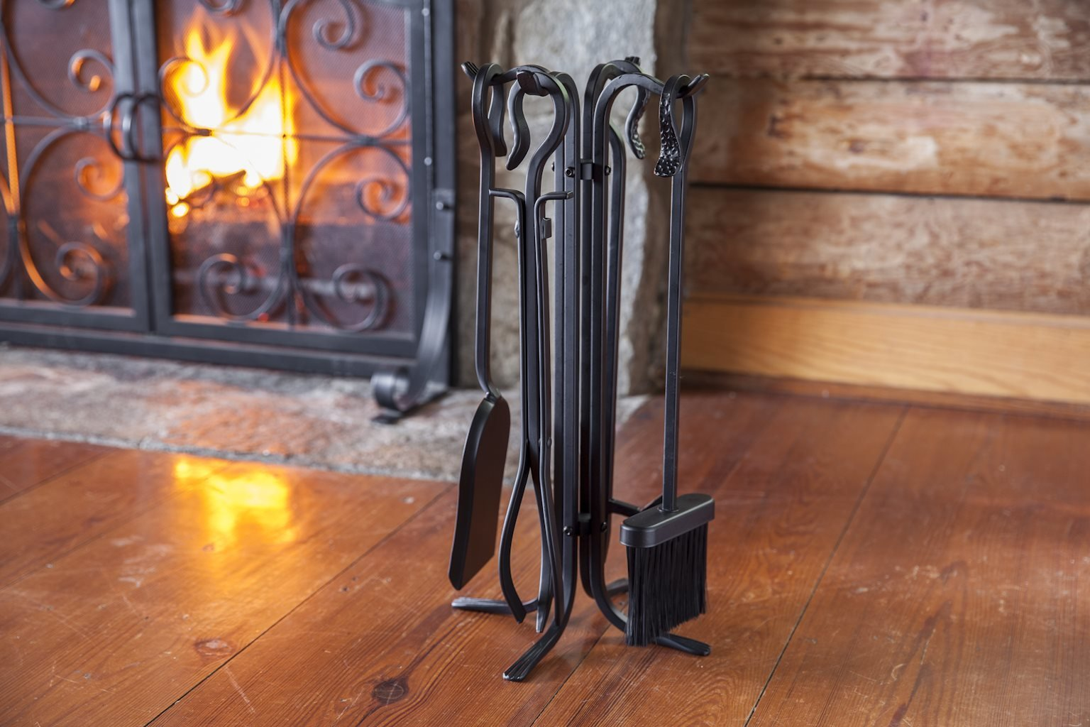 Plow & Hearth 5 Piece Hand Forged Iron Compact Fireplace Tool Set Poker Tongs Shovel Broom and Stand Shepherd's Hook Style Wood Stove Firepit Accessories Natural Black Finish 10.25 sq. x 20 H by Plow & Hearth