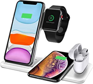 Innens Wireless Charging Station, 4-in-1 Foldable Qi 15W Fast Wireless Charger Dock for Apple iPhone, iWatch Series 5 4 3 2 1, Airpods, Samsung Galaxy Note 20/Note 20 Ultra/S20/Plus/Ultra, Buds