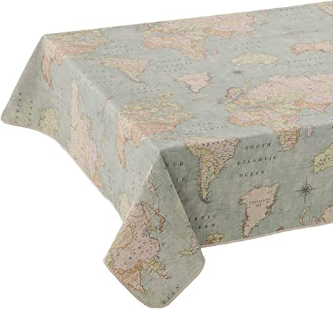 ANRO - Mantel lavable de tela prémium, fácil cuidado, tela prémium, lavable, 75 % algodón, 25 % poliéster., Mapa del mundo rústico., Tischdecke 260x140cm Oval: Amazon.es: Hogar