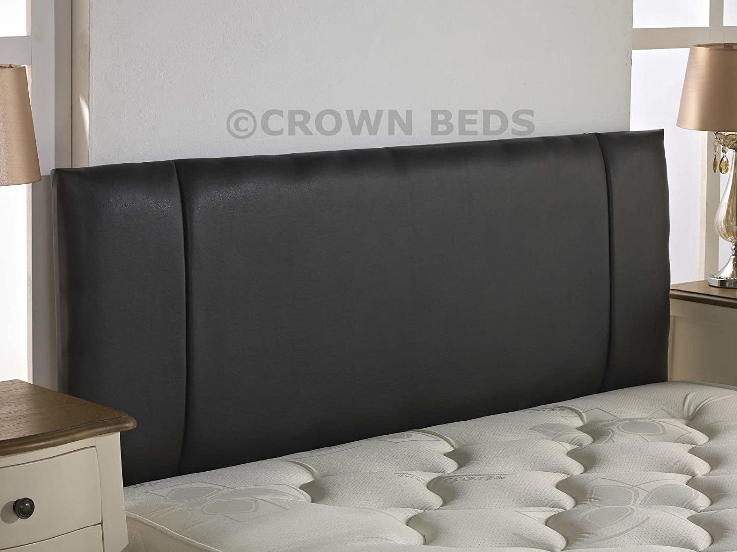 CROWNBEDSUK QUALITY FAUX LEATHER PORTOBELLO HEADBOARD 2ft6,3ft,4ft,4ft6,5ft,6ft NEW!!!!! (2ft6 small single, black) CROWNBEDSUK®