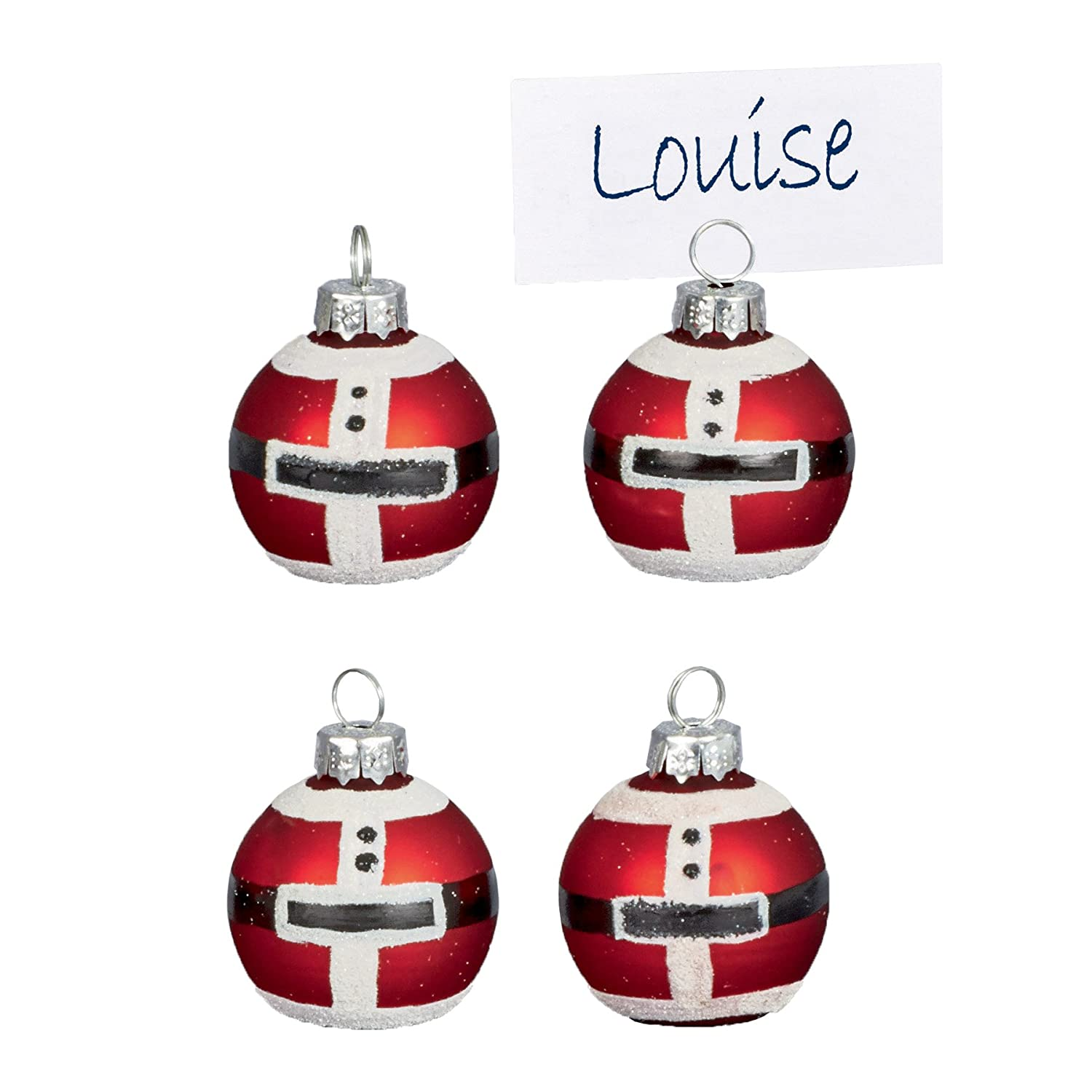 Christmas Set of 4 Glass Bauble Table Name Place Card Holder - Santa Premier Decorations