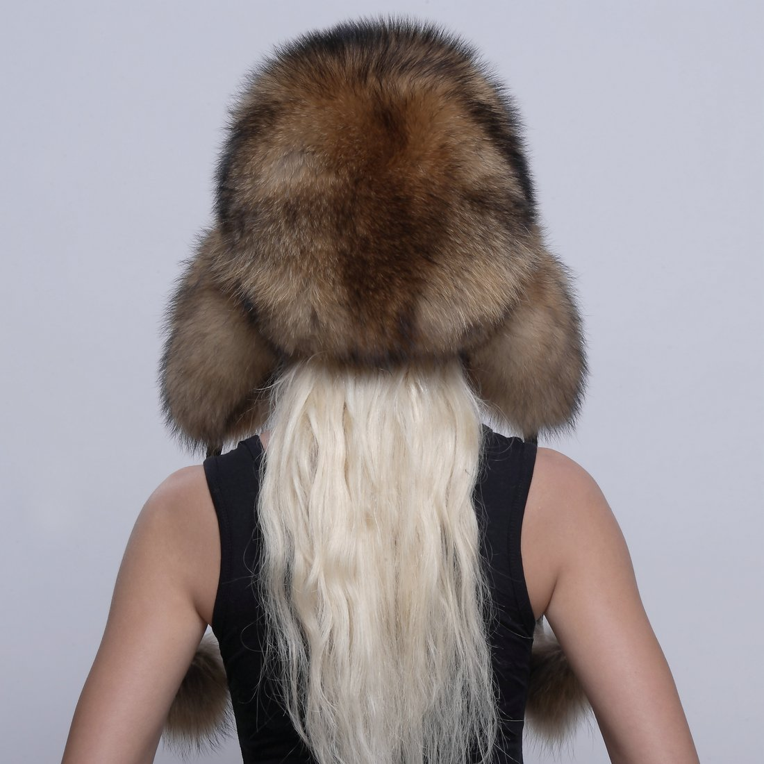 URSFUR Genuine Raccoon Fur Russian Ushanka Trapper Hat Cap with Fur Ball Pompom by URSFUR (Image #4)
