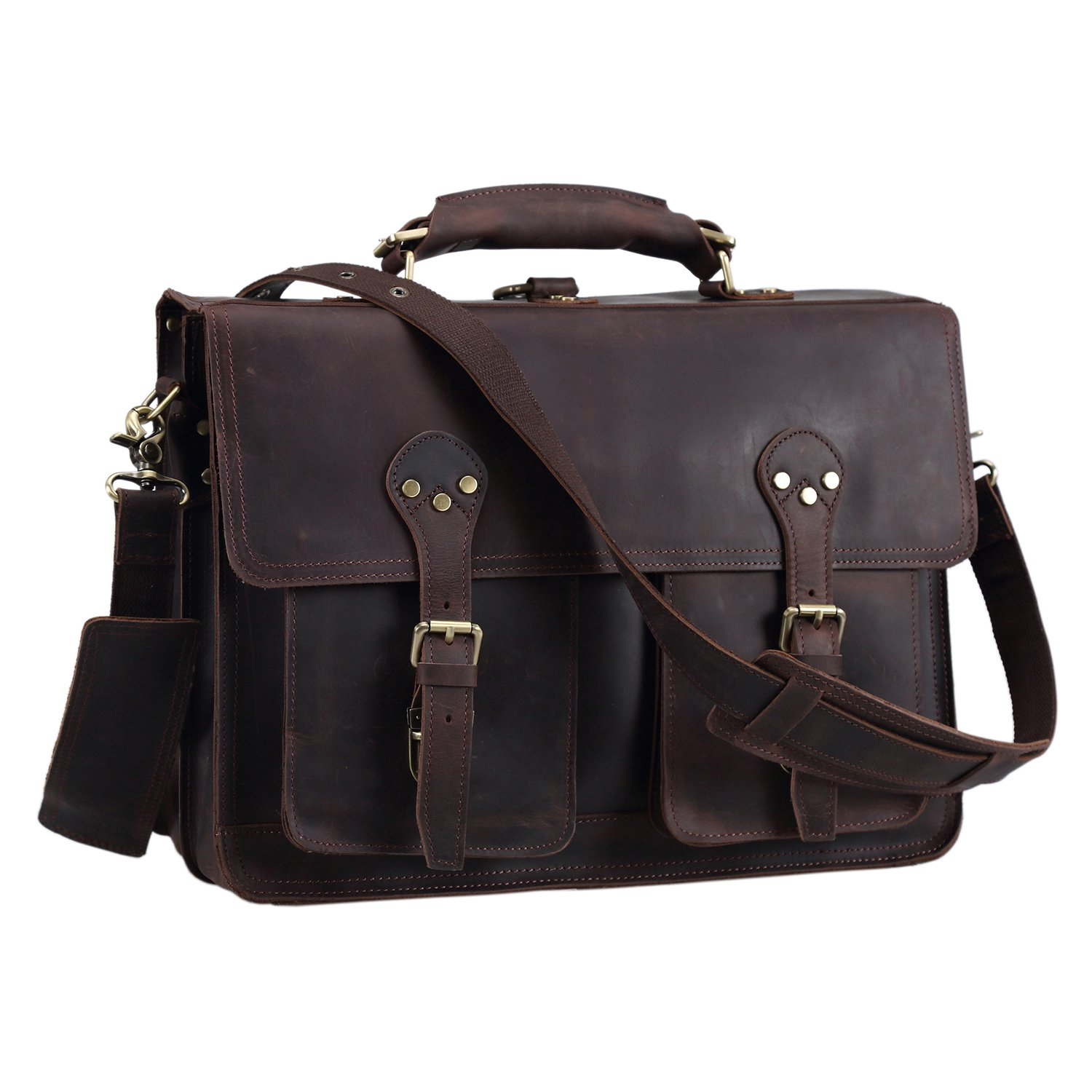 Texbo Thick Leather Vintage Shoulder Briefcase, 16 Inch Laptop Tote Bag