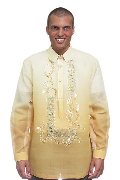 Bw Filipino Jusi Pina Monochromatic Barong Tagalog Gold 001 At