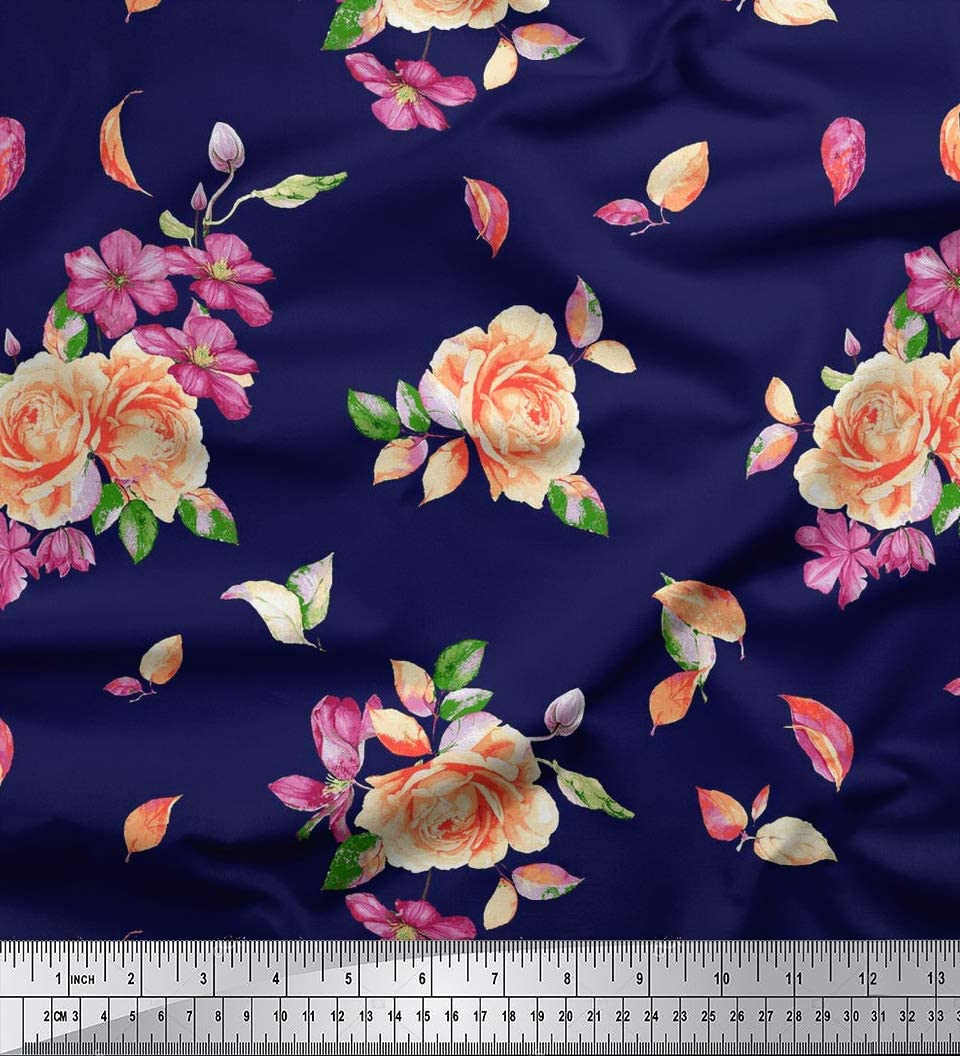 """59/"""" Wide Light Weight Rayon Fabric Printed White Sewing Crafting By The Yard"""