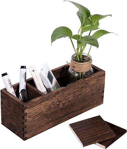 Soporte de madera para mando a distancia, organizador con 4 compartimentos, caja de almacenamiento para almacenar mandos a distancia: Amazon.es: Oficina y papelería