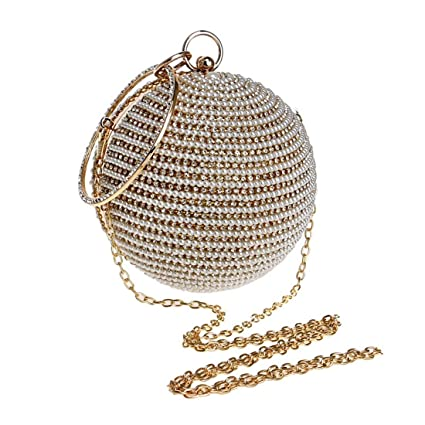 Hungrybubble Women Round Ball Wrist Bag Clutch Purse Handbag Pearl Beaded  Diamond Evening Bag Rhinestone (Color   Gold)  Amazon.co.uk  Kitchen   Home