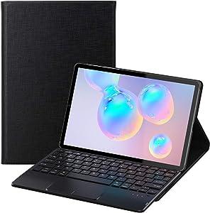 Feitenn Galaxy Tab S6 Keyboard, Tab S6 Keyboard Case, Laptop Touchpad Detachable Sleep/Wake Smart Tablet Cover Pencil Holder Stand Wireless Bluetooth Keyboard for Samsung Galaxy Tab S6 10.5'' - Black