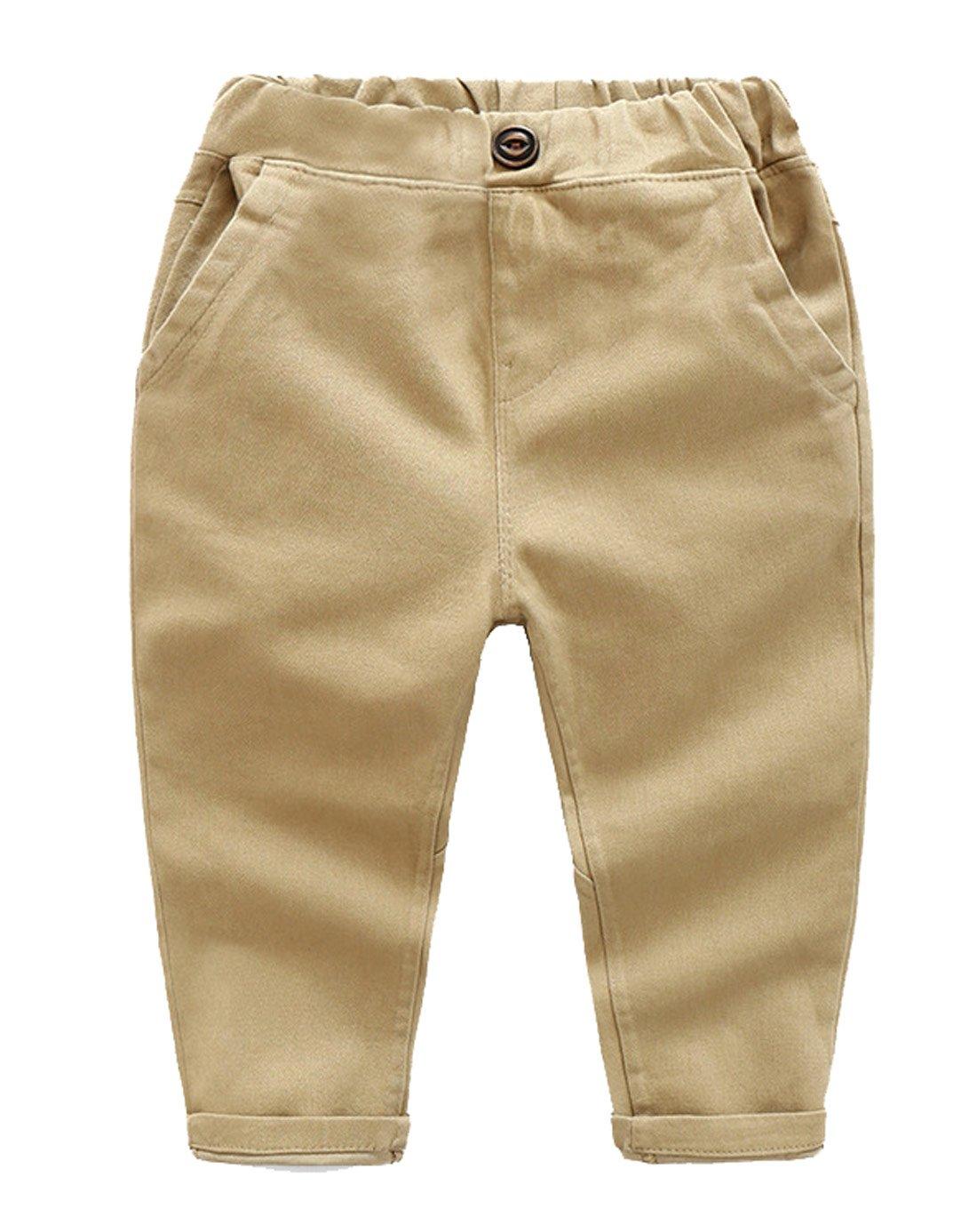 BALETONGNIAN Toddler Chino Pants Cotton Casual Jogger Pull On Pants Classic Long Pant Khaki 3T