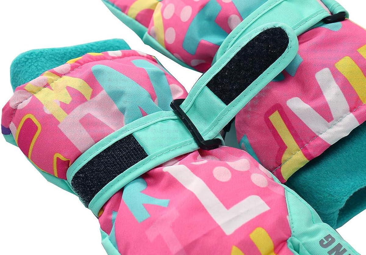 Hiheart Girls Winter Ski Gloves Waterproof Outdoor Thicken Glove
