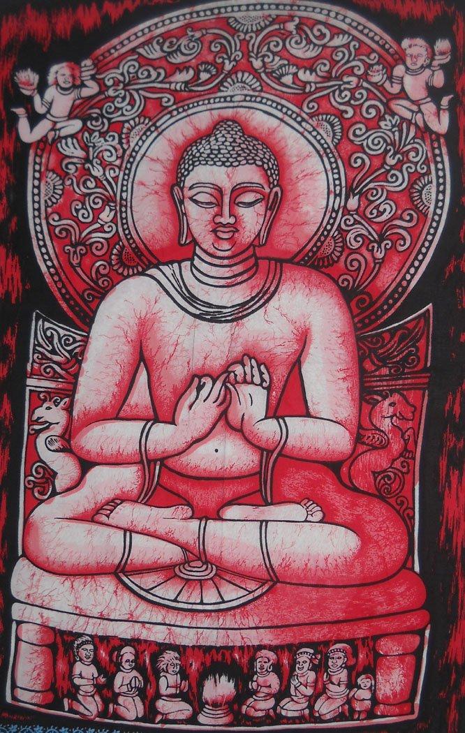 Preaching Buddha a mano batik pittura murale/arazzo: 76, 2x 101, 6cm pollici Crafts of India