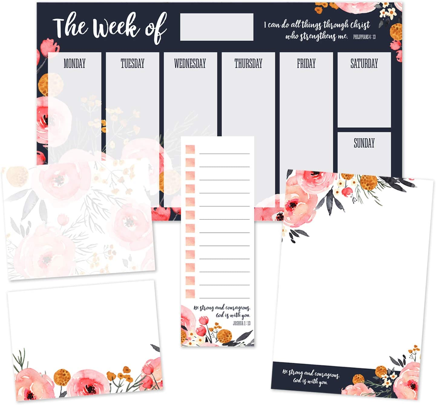 Watercolor Blush and Navy Floral Religious Sticky Note Ensemble/Christian Repositionable Notepad Desk Set / 5 Empowering Designs