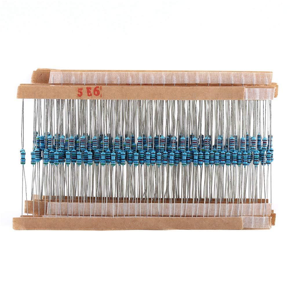 1280 Pcs 64 valeurs R/ésistances Kit de r/ésistance R/ésistances /à film m/étallique 1-10M ohm 1//4W Kit de composants dassortiment de r/ésistances de film m/étallique