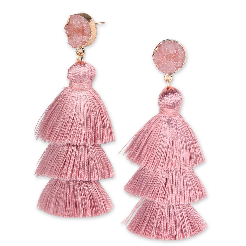 YOUTH UNION Colorful Tassel Earrings Multilayered Bohemian Style Dangle Drop Tiered Druzy Stud Earrings for Women Girls (Pink)