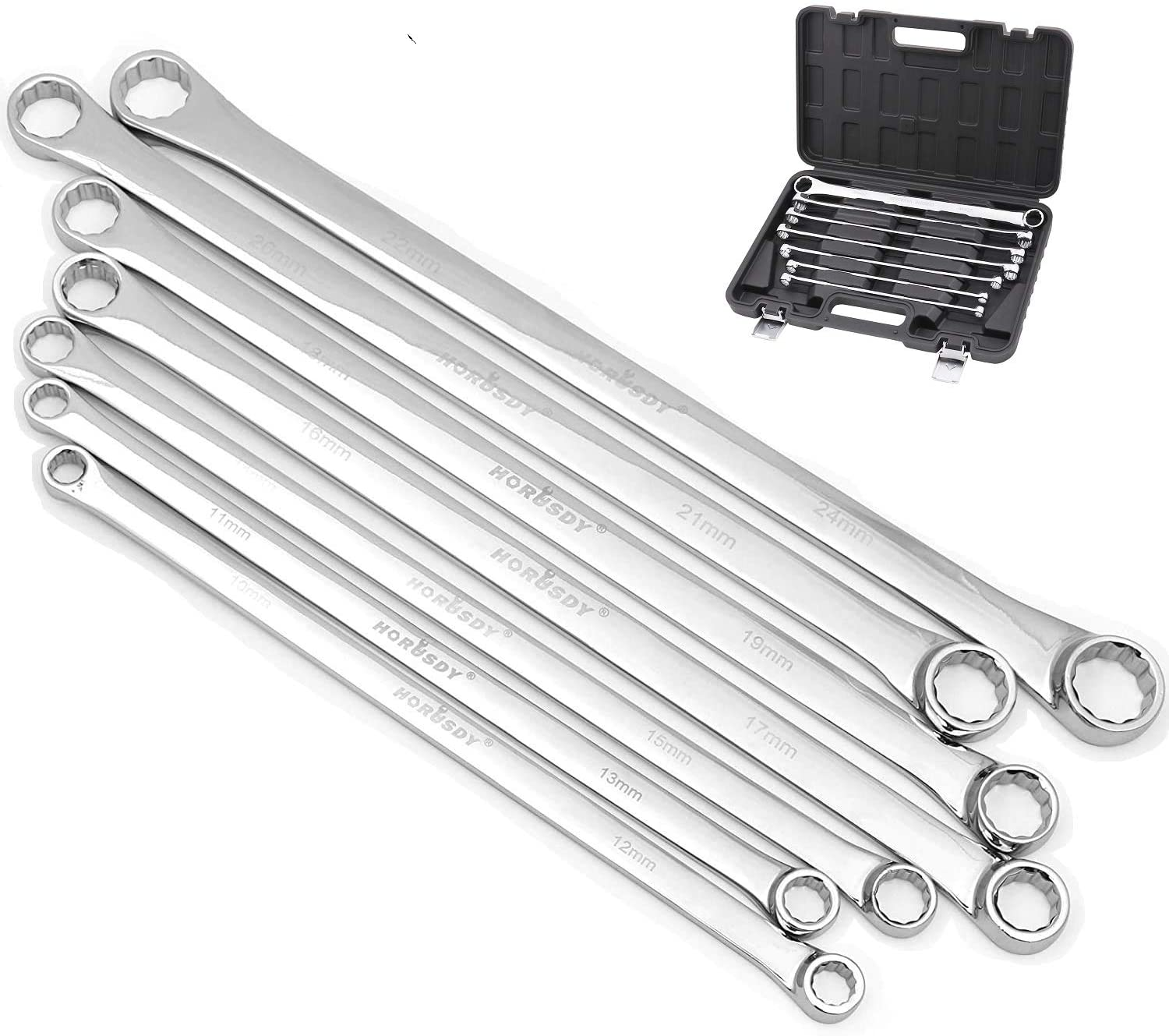 BULLTOOLS Flex-Head Extra Long Ratcheting Wrenches Double Box End Chrome Vanadium Steel 72-Tooth Wrench with Metric 17 mm x 19 mm