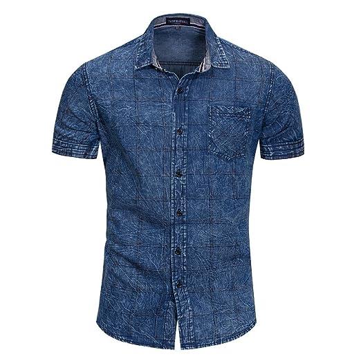 3258ae24b56 Pervobs Men Shirts Clearance! Denim Shirt Men Short Sleeve Block Casual  Button Pullover T-
