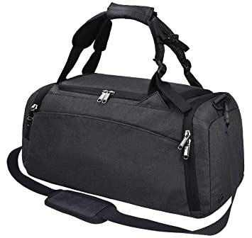 cea55c79d7b Amazon.com   Gym Duffle Bag Waterproof Travel Weekender Bag for Men Women Duffel  Bag Backpack with Shoes Compartment Overnight Bag 40L Black   Sports ...