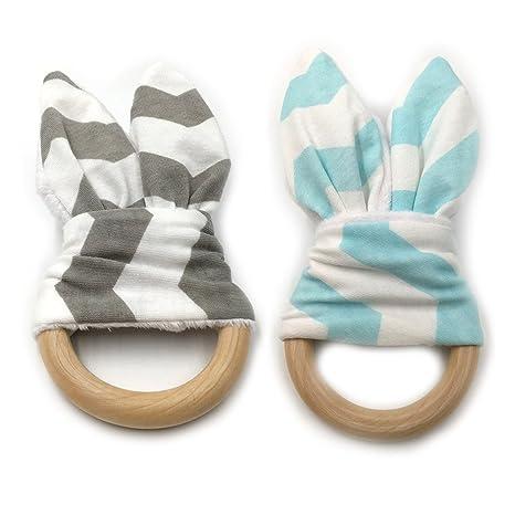 INCHNAT bebé Mordedor Juguete Orgánica anillos de dentición del oído del conejito Mordedor para el bebé