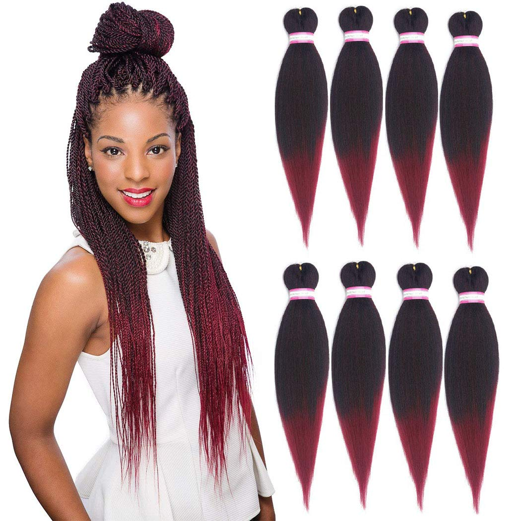 Pre Stretched Braiding Hair 20 Inch 8 Packs Yaki Synthetic Ombre Color Professional Braiding Hair Extensions For Crochet Braids Twist Hair