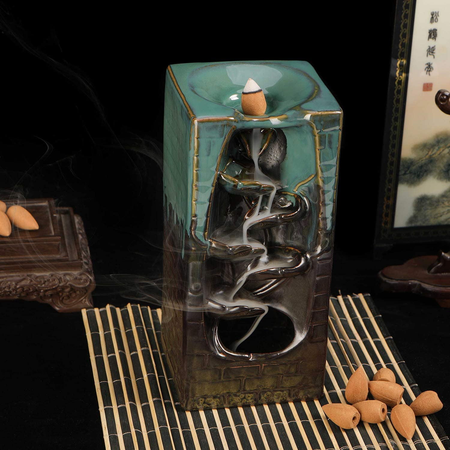 Backflow Incense Burner With10 Pcs Waterfall Incense Cones Helps to bring about a Very relaxing atmosphere by Pavo Cristatus