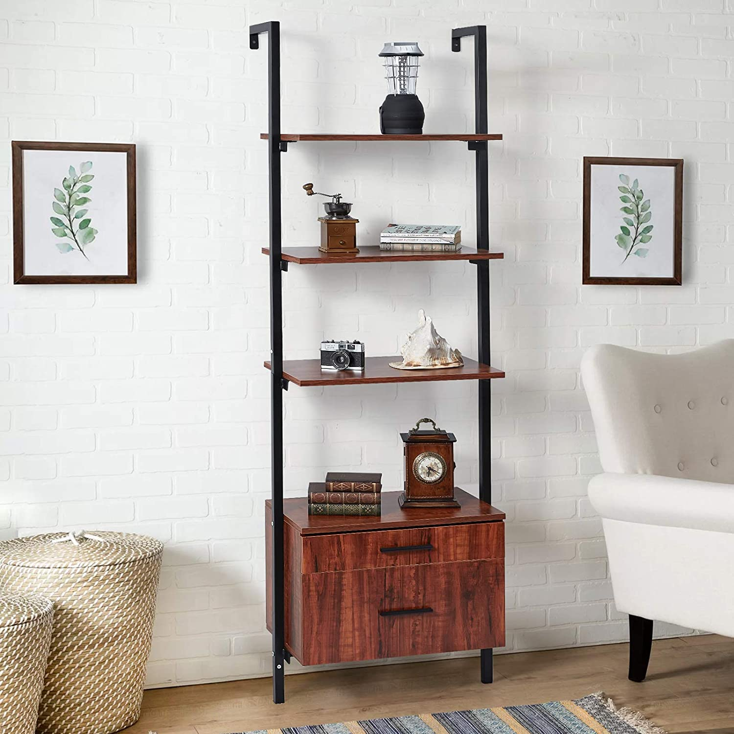 """YODOLLA 3-Tier Wall-Mounted Bookcase with 2 Wood Drawers, Industrial Wood Ladder Shelf w/Matte Metal Frame, 73"""" Storage Rack for Living Room, Bedroom, Study, Home, Office, Black"""