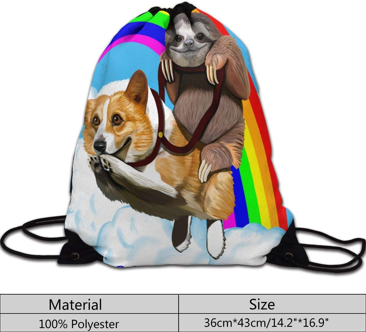 Sloth Riding Corgi Funny Gym Drawstring Bags Travel Backpack Tote Rucksack