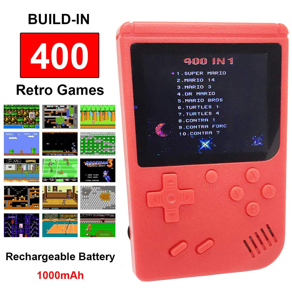 Mini Retro Handheld FC Games Consoles ,Built-in 400 Classic Game, Portable Gameboy 3 Inch LCD Screen TV Output ,Good Gifts for Kids Boys Girls Men Women (Games Consoles Red) by Come-buy (Image #1)