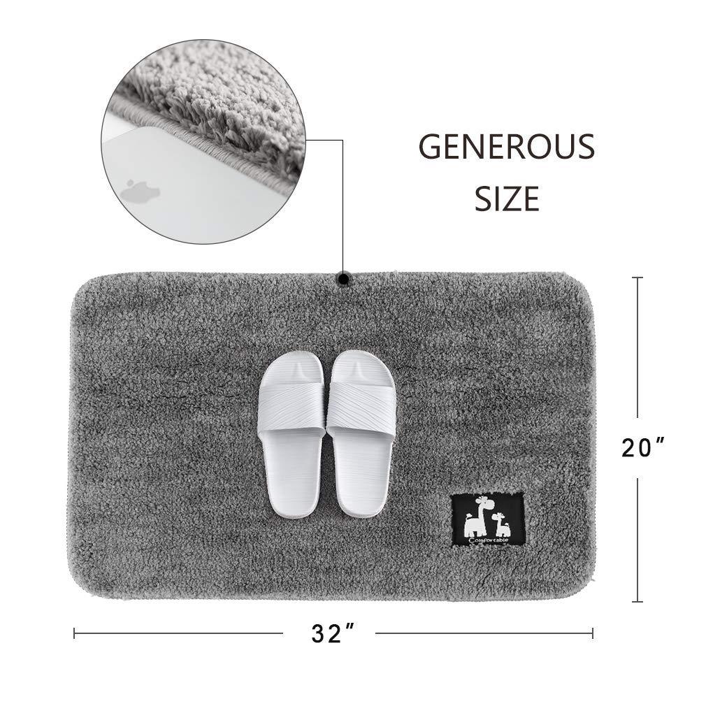 Noahas Bath Mat Bathroom Rug Non-Slip Absorbent Microfiber Bath Rugs 24 x 35 Grey Machine Washable Entrance Door Mat Shoes Scraper Floor Indoor