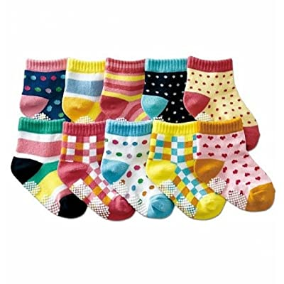 10 Pairs Assorted Baby Girls Anti-slip Cotton Socks with Grip ( 1 to 3 Years Old)