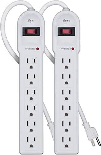 KMC 6-Outlet Surge Protector Power Strip 2-Pack, Overload Protection, 4-Foot Cord, 900 Joule – White
