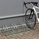 WilTec Soporte 4 Bicicletas Aparcamiento bicis Aparcabicis 95x33x27cm Metal galvanizado Exterior Suelo