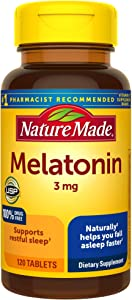 Melatonin 3mg Tablets, 120 Count for Supporting Restful Sleep