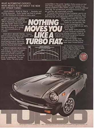 "Magazine Print Ad: 1981 Fiat Spider Turbo,""Nothing Moves You Like a"