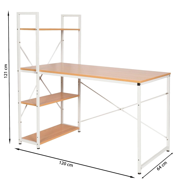 ts-ideen Escritorio de madera mesa de trabajo en blanco para el PC ...