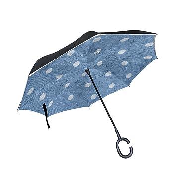 Wamika - Paraguas de Viaje con diseño de Lunares Blancos con Doble Capa Azul Resistente al