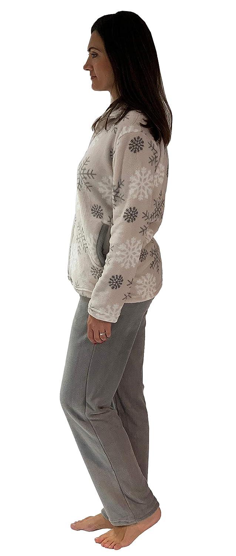 0f32b1bbe5 Normann Copenhagen Kuscheliger Damen Hausanzug aus Coral Fleece -  winterliches Design - 281 216 97 956, Farbe:hellgrau, Größe2:48/50:  Amazon.de: Bekleidung