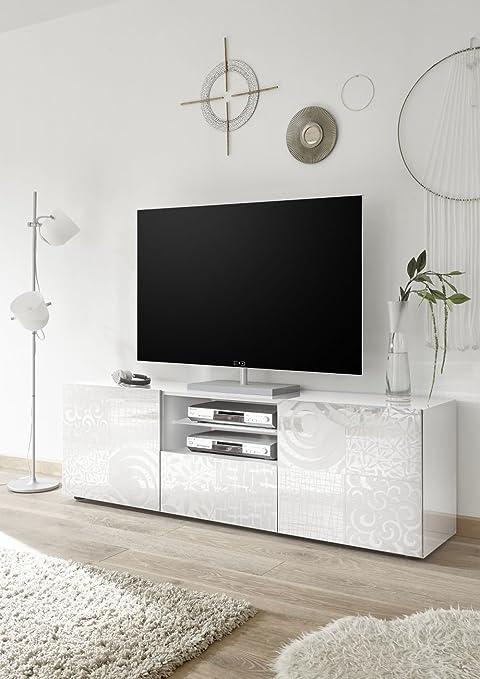 Porta Tv Bianco Lucido Mondo Convenienza.Miro Porta Tv Contenitore 2 Ante 1 Cassetto Bianco Lucido