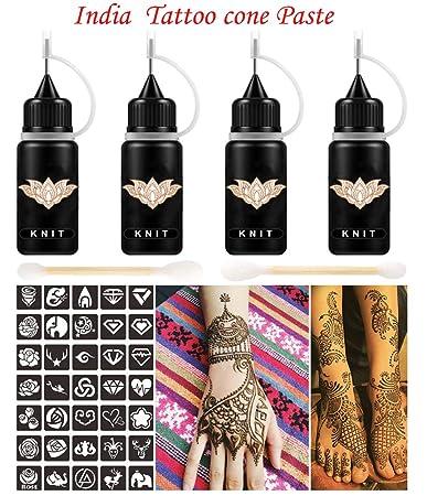 Amazon.com : Indian Henna Tattoo Kit, Brown Henna Cones Paste, Henna ...