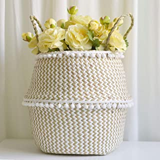 Toasye Wäschekorb,Seegras Weidenkorb Blumentopf Faltkorb Schmutzig Korb Lagerung Dekoration (D, 38×36cm)